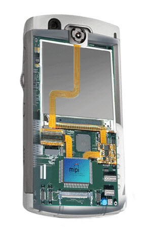 Inside of a mobile phone showing MIPI connections between the application processor and camera and display subsystems. Connections made using a D-PHY or M-PHY.